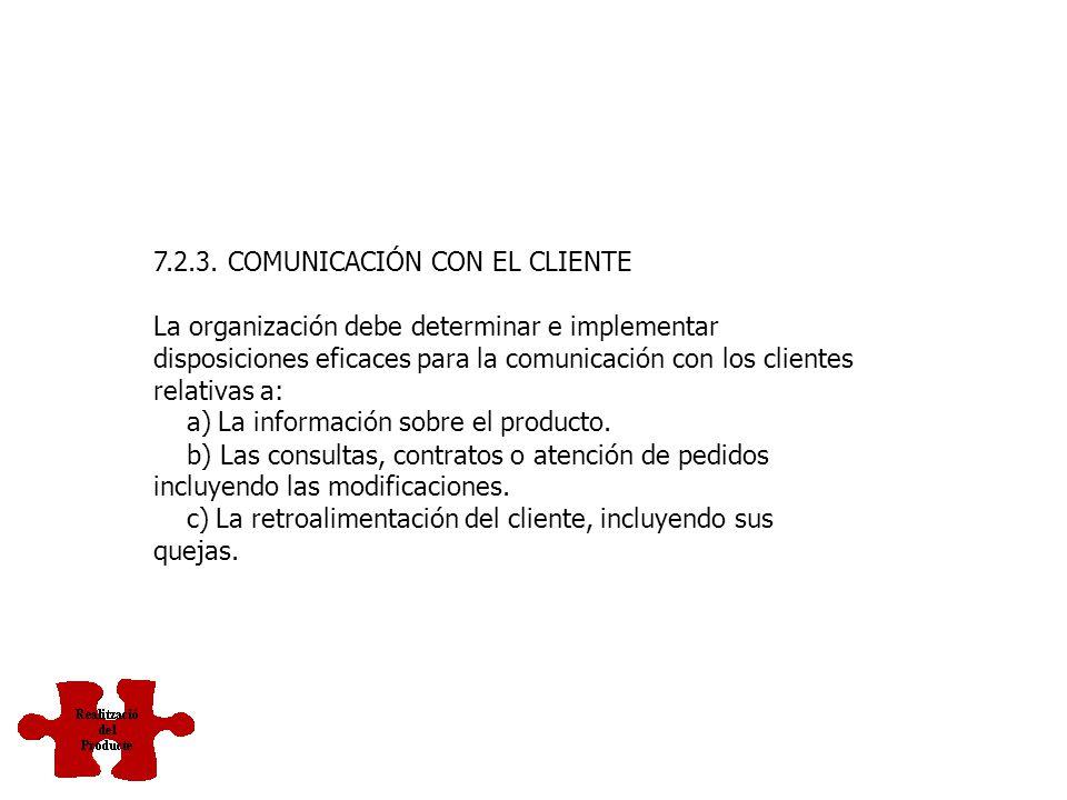 7.2.2. REVISIÓN DE LOS REQUISITOS RELACIONADOS CON EL PRODUCTO La organización debe revisar los requisitos relacionados con el producto. Esta revisión