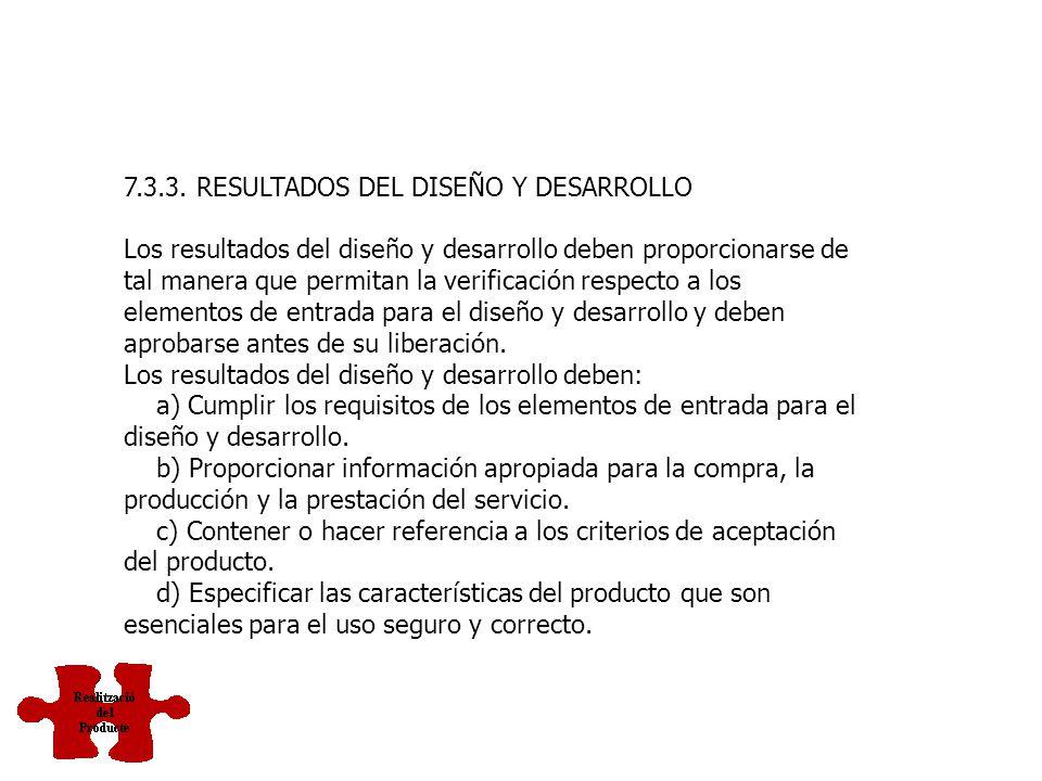 7.3.2. ELEMENTOS DE ENTRADA PARA EL DISEÑO Y DESARROLLO Deben determinarse los elementos de entrada relacionados con los requisitos del producto y man