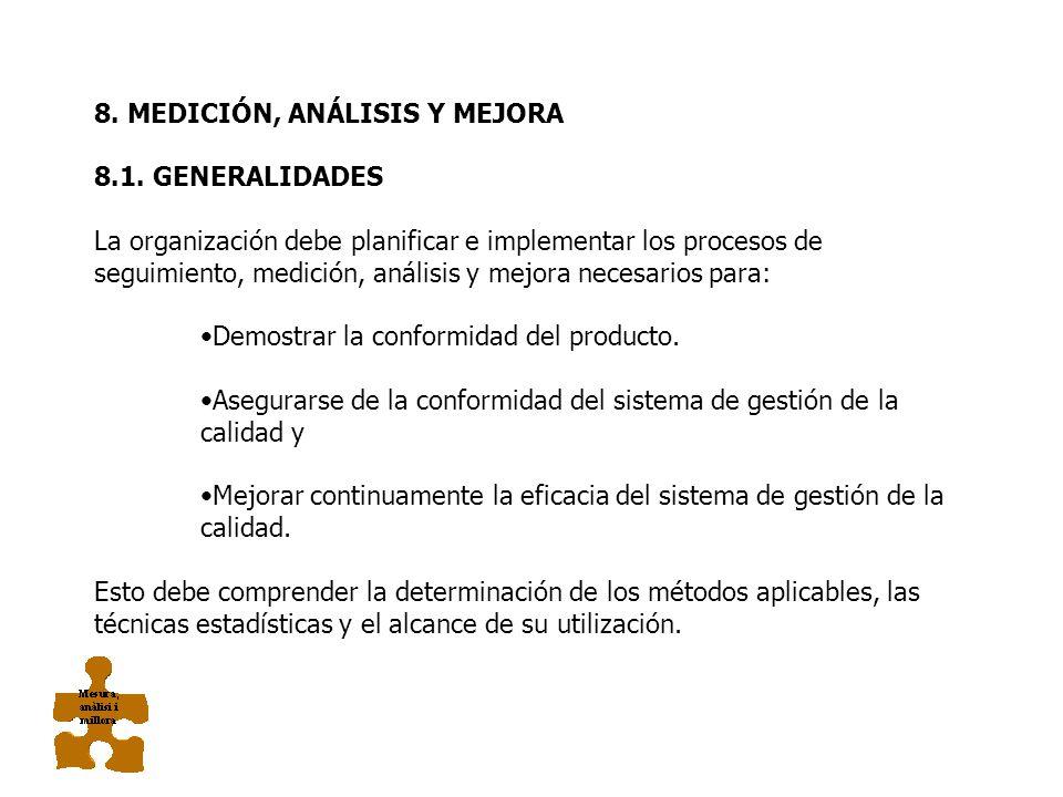 MEDICIÓN, ANÁLISIS Y MEJORA 8.1 Generalidades 8.2 Seguimiento y medición 8.3 Control del producto no conforme 8.4 Análisis de datos 8.5 Mejora Satisfa