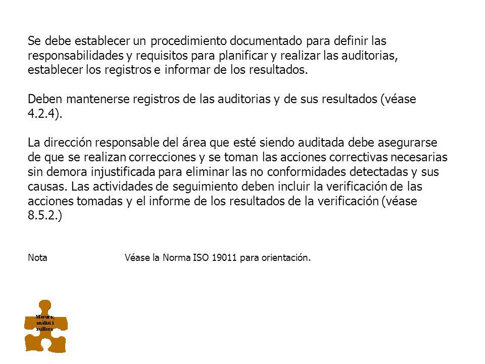 8.2.2. AUDITORIA INTERNA La organización debe llevar a cabo auditorias internas a intervalos planificados para determinar si el sistema de gestión de