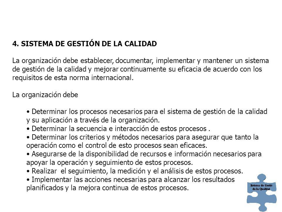 SISTEMA DE GESTIÓN DE LA CALIDAD 4.1 Requisitos generales 4.2 Requisitos de la documentación Generalidades Manual de Calidad Control de los documentos