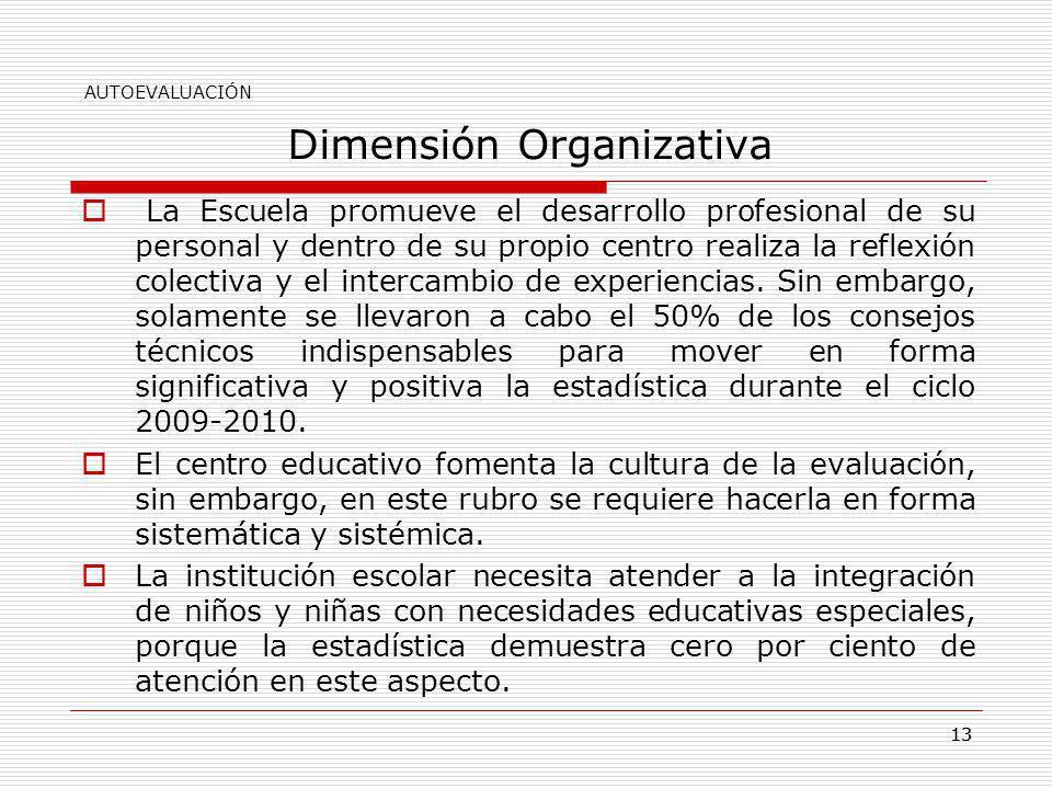 13 Dimensión Organizativa La Escuela promueve el desarrollo profesional de su personal y dentro de su propio centro realiza la reflexión colectiva y e