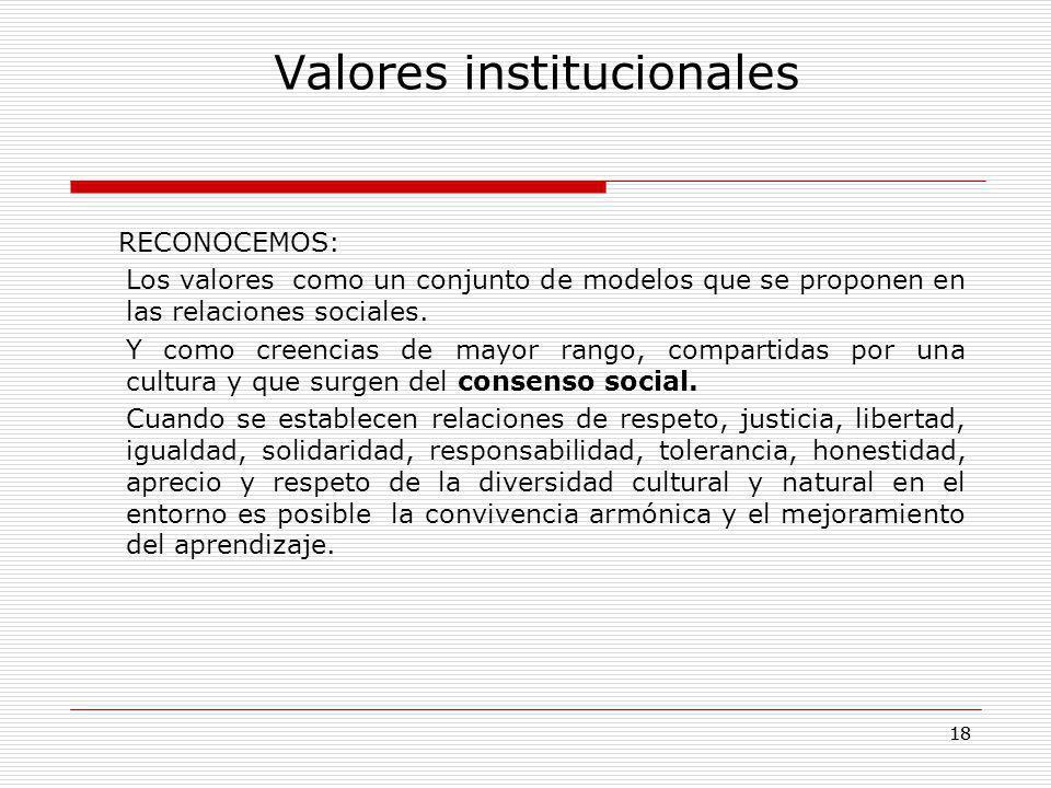 18 Valores institucionales RECONOCEMOS: Los valores como un conjunto de modelos que se proponen en las relaciones sociales. Y como creencias de mayor
