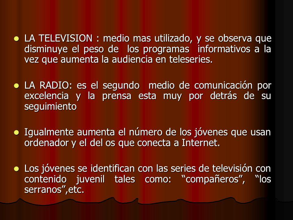 LA TELEVISION : medio mas utilizado, y se observa que disminuye el peso de los programas informativos a la vez que aumenta la audiencia en teleseries.