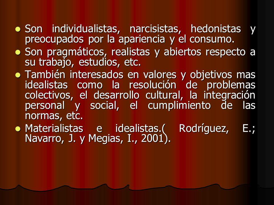 Son individualistas, narcisistas, hedonistas y preocupados por la apariencia y el consumo. Son individualistas, narcisistas, hedonistas y preocupados