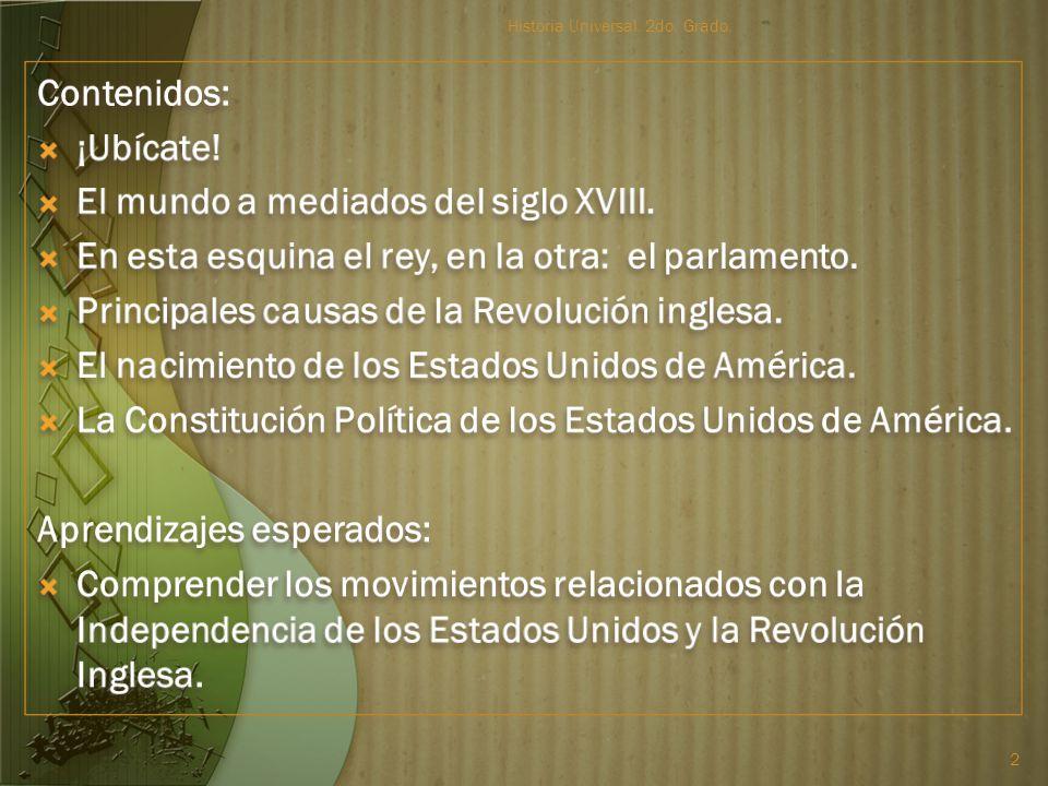 Bloque 2: De mediados del siglo XVIII a mediados del XIX Compilador: Prof. Jacobo Mateos Rico Historia Universal. 2do. Grado. 1