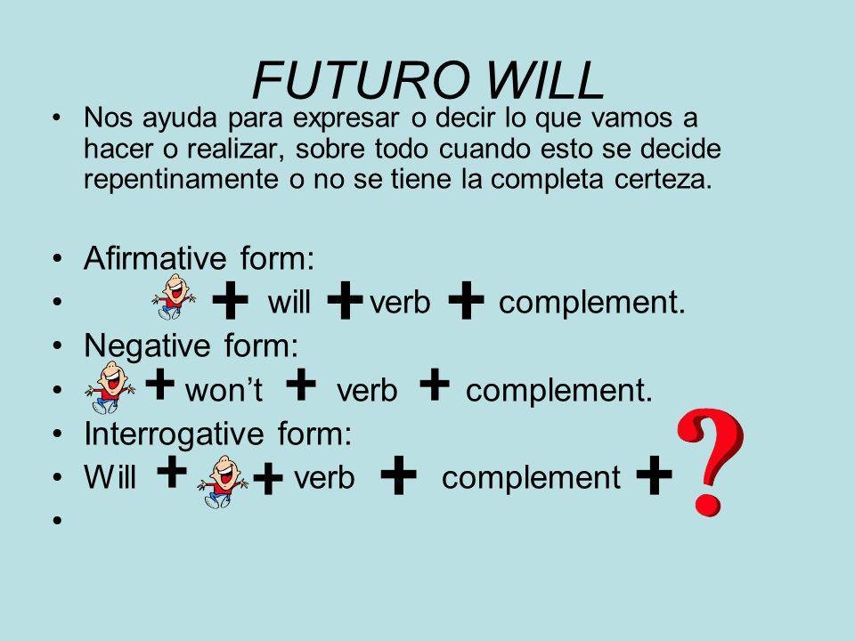 FUTURO WILL Nos ayuda para expresar o decir lo que vamos a hacer o realizar, sobre todo cuando esto se decide repentinamente o no se tiene la completa certeza.