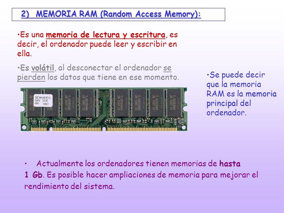 hasta 1 GbActualmente los ordenadores tienen memorias de hasta 1 Gb. Es posible hacer ampliaciones de memoria para mejorar el rendimiento del sistema.