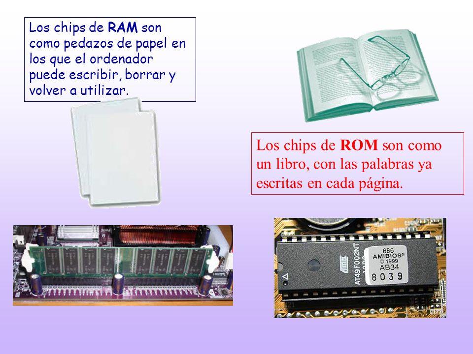 Los chips de RAM son como pedazos de papel en los que el ordenador puede escribir, borrar y volver a utilizar. Los chips de ROM son como un libro, con