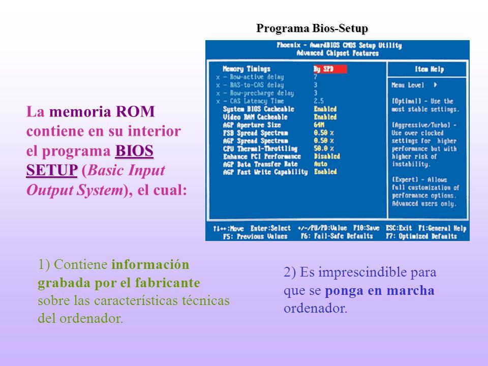 Programa Bios-Setup ordenador 2) Es imprescindible para que se ponga en marcha ordenador. 1) Contiene información grabada por el fabricante sobre las