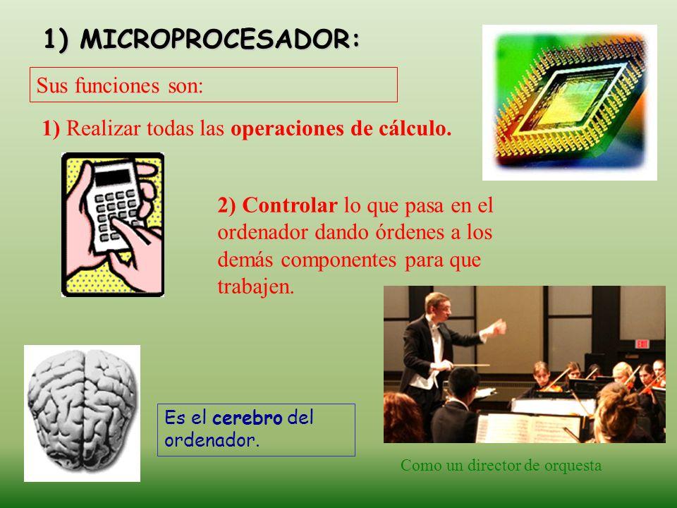 Es el cerebro del ordenador. 1) MICROPROCESADOR: 1) MICROPROCESADOR: Sus funciones son: 1) Realizar todas las operaciones de cálculo. 2) Controlar lo