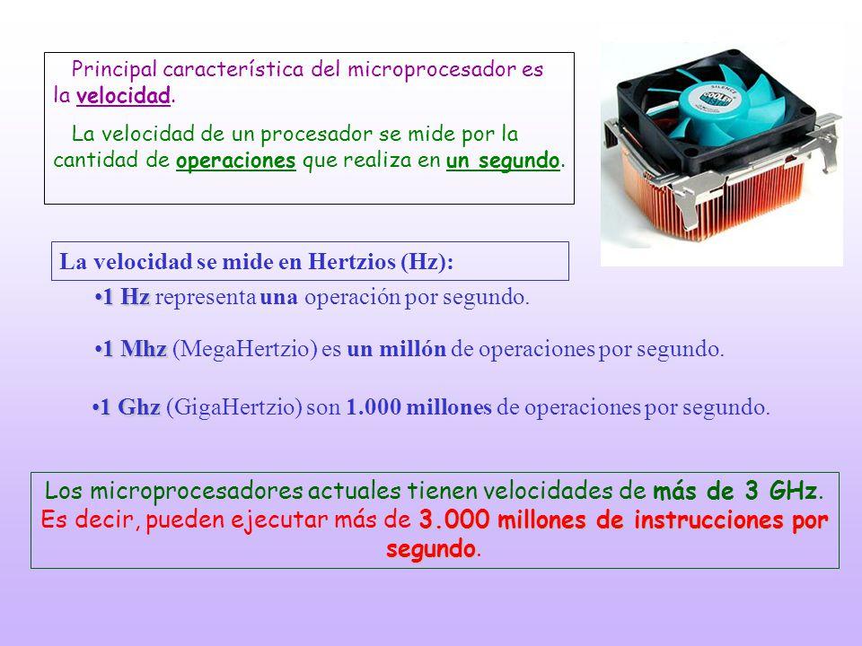 La velocidad se mide en Hertzios (Hz): 1 Hz1 Hz representa una operación por segundo. 1 Mhz1 Mhz (MegaHertzio) es un millón de operaciones por segundo