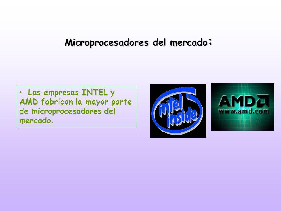 Microprocesadores del mercado : INTEL AMDLas empresas INTEL y AMD fabrican la mayor parte de microprocesadores del mercado.
