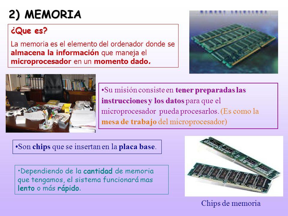 2) MEMORIA ¿Que es? La memoria es el elemento del ordenador donde se almacena la información que maneja el microprocesador en un momento dado. Chips d