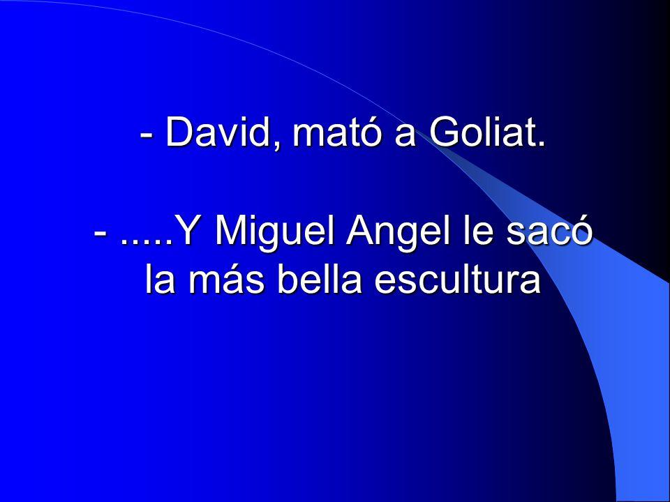 - David, mató a Goliat. -.....Y Miguel Angel le sacó la más bella escultura