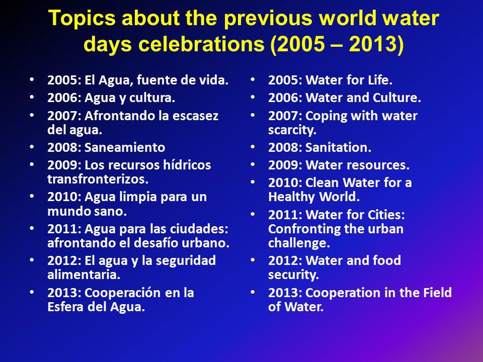 Topics about the previous world water days celebrations (2005 – 2013) 2005: El Agua, fuente de vida. 2006: Agua y cultura. 2007: Afrontando la escasez