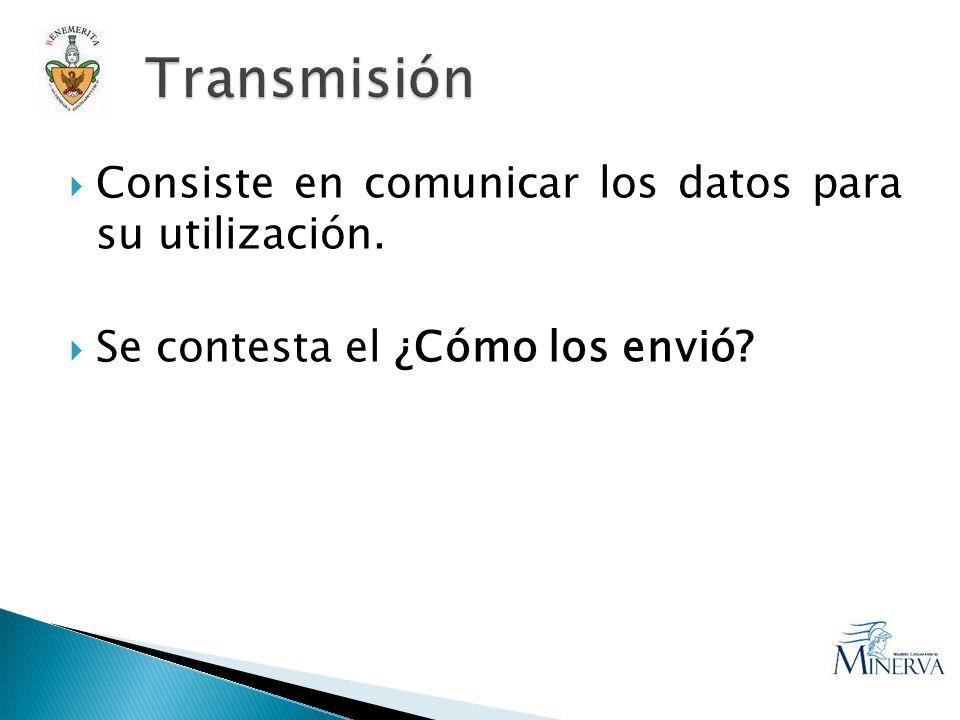 Consiste en comunicar los datos para su utilización. Se contesta el ¿Cómo los envió