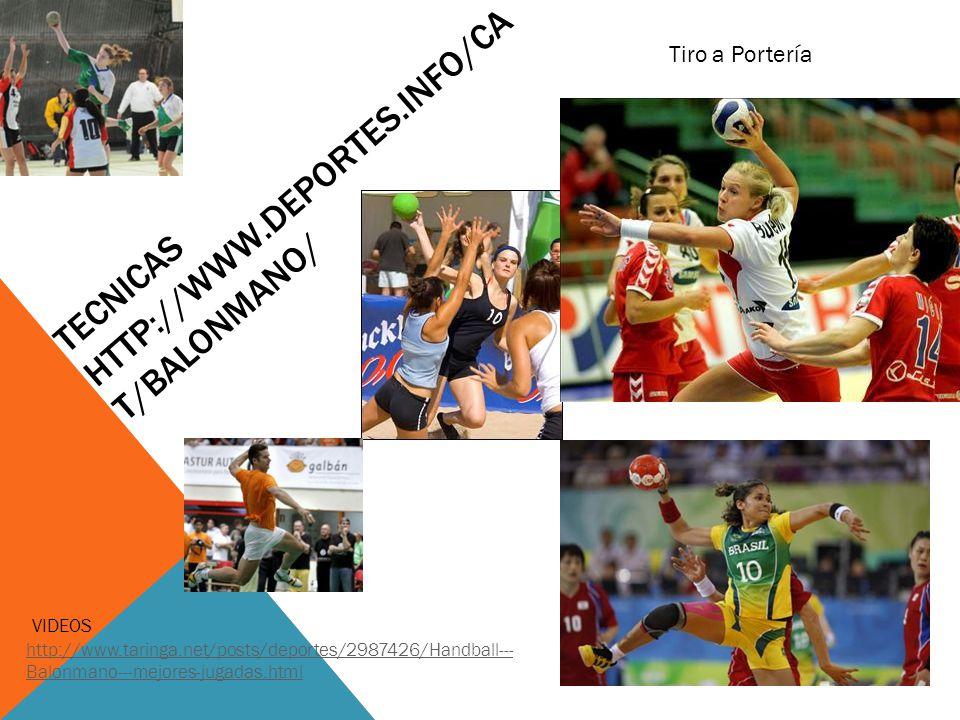 TECNICAS HTTP://WWW.DEPORTES.INFO/CA T/BALONMANO/ VIDEOS http://www.taringa.net/posts/deportes/2987426/Handball--- Balonmano---mejores-jugadas.html http://www.taringa.net/posts/deportes/2987426/Handball--- Balonmano---mejores-jugadas.html Tiro a Portería