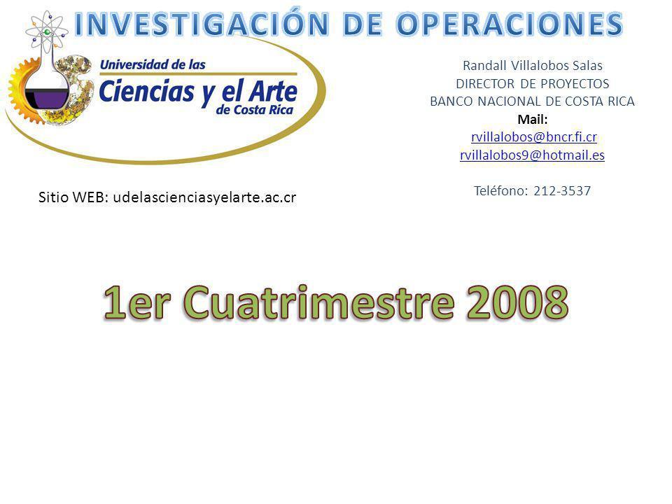 Randall Villalobos Salas DIRECTOR DE PROYECTOS BANCO NACIONAL DE COSTA RICA Mail: rvillalobos@bncr.fi.cr rvillalobos9@hotmail.es Teléfono: 212-3537 Si