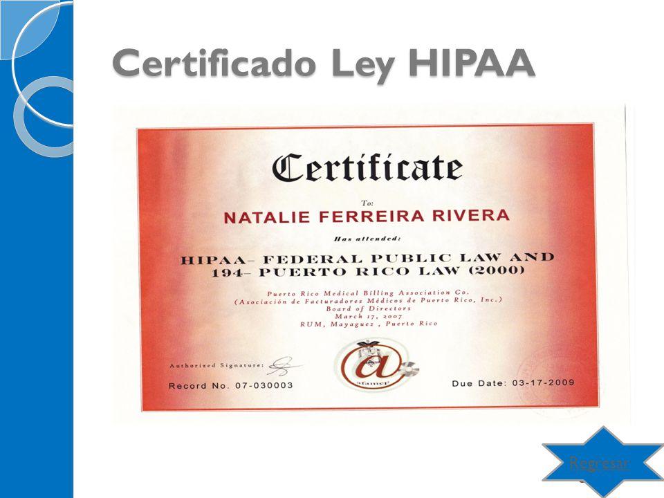 Certificado Ley HIPAA Regresar