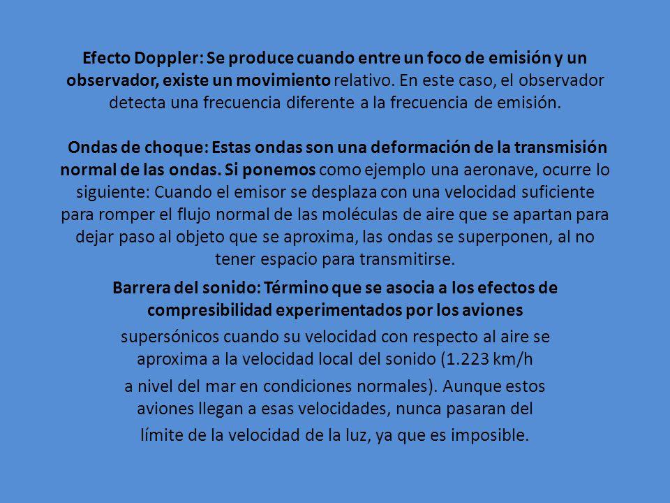 Efecto Doppler: Se produce cuando entre un foco de emisión y un observador, existe un movimiento relativo. En este caso, el observador detecta una fre