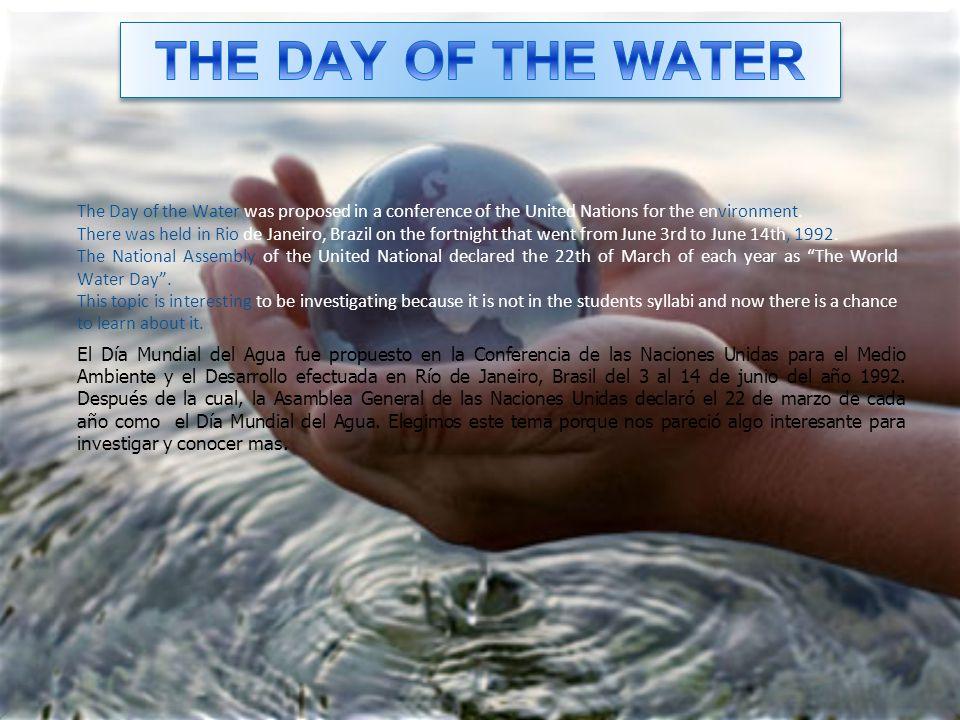 El Día Mundial del Agua fue propuesto en la Conferencia de las Naciones Unidas para el Medio Ambiente y el Desarrollo efectuada en Río de Janeiro, Bra