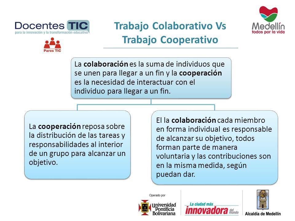 La colaboración es la suma de individuos que se unen para llegar a un fin y la cooperación es la necesidad de interactuar con el individuo para llegar
