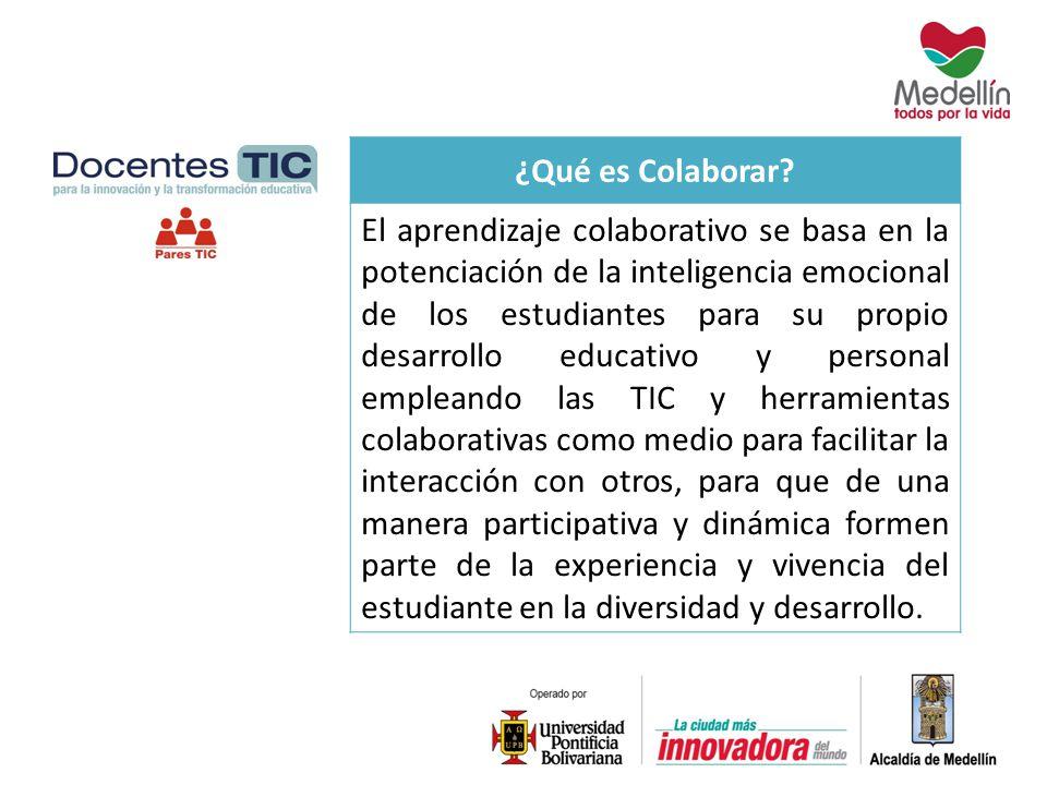 ¿Qué es Colaborar? El aprendizaje colaborativo se basa en la potenciación de la inteligencia emocional de los estudiantes para su propio desarrollo ed