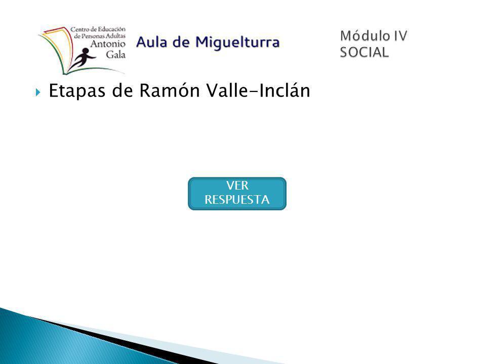 Etapas de Ramón Valle-Inclán VER RESPUESTA