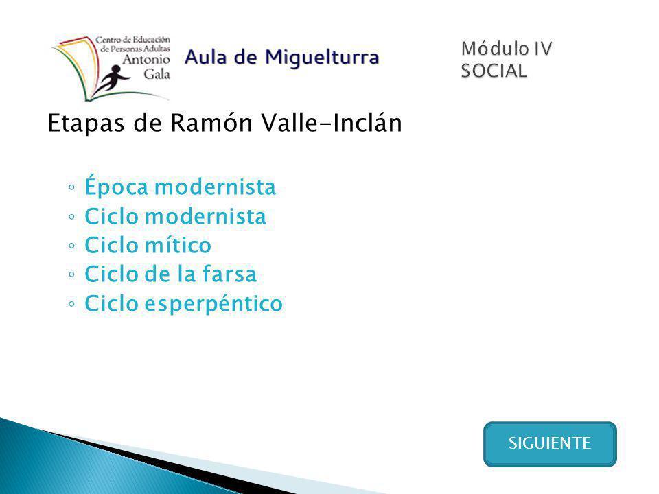 Etapas de Ramón Valle-Inclán Época modernista Ciclo modernista Ciclo mítico Ciclo de la farsa Ciclo esperpéntico SIGUIENTE