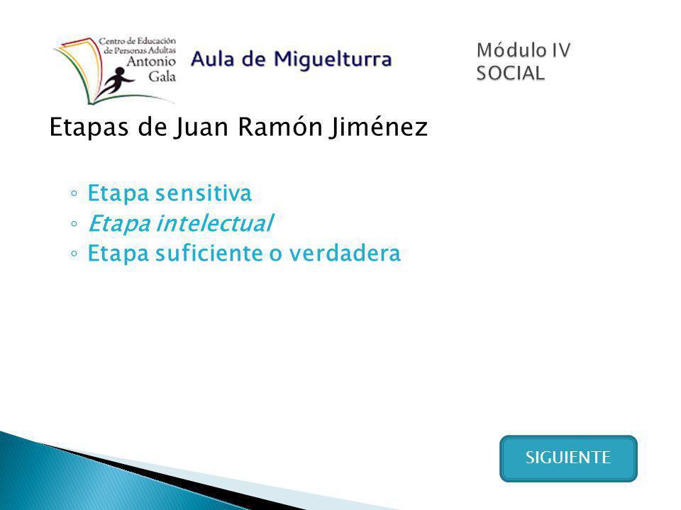 Etapas de Juan Ramón Jiménez Etapa sensitiva Etapa intelectual Etapa suficiente o verdadera SIGUIENTE