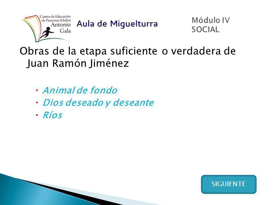 Obras de la etapa suficiente o verdadera de Juan Ramón Jiménez Animal de fondo Dios deseado y deseante Ríos SIGUIENTE