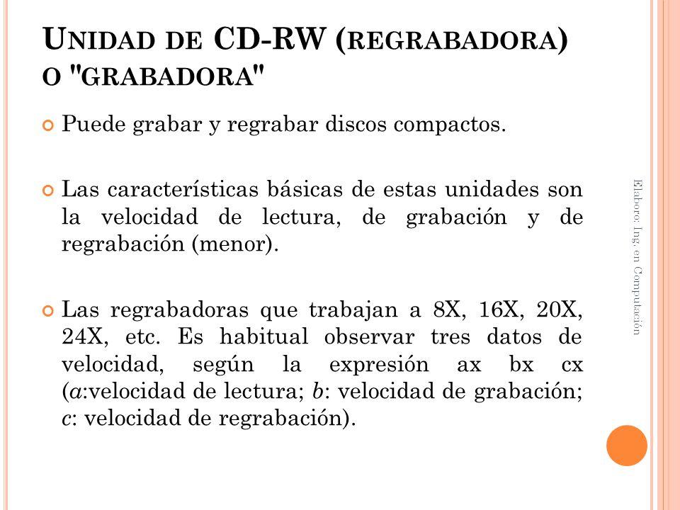U NIDAD DE CD-RW ( REGRABADORA ) O
