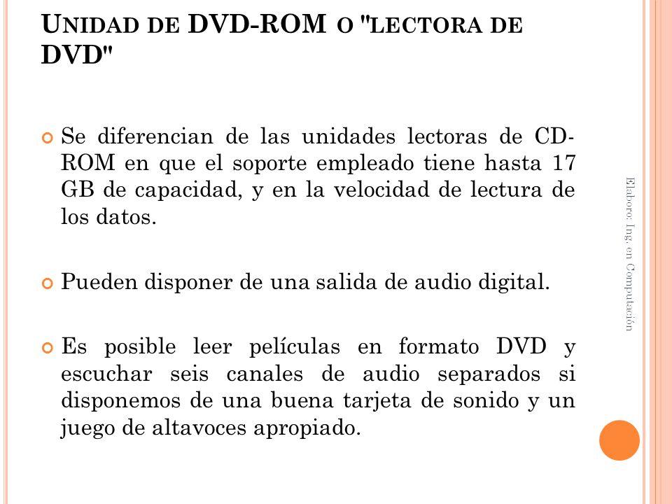 U NIDAD DE DVD-ROM O