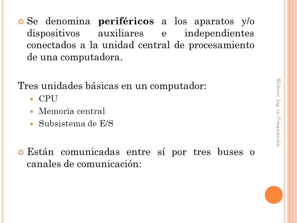 Se denomina periféricos a los aparatos y/o dispositivos auxiliares e independientes conectados a la unidad central de procesamiento de una computadora