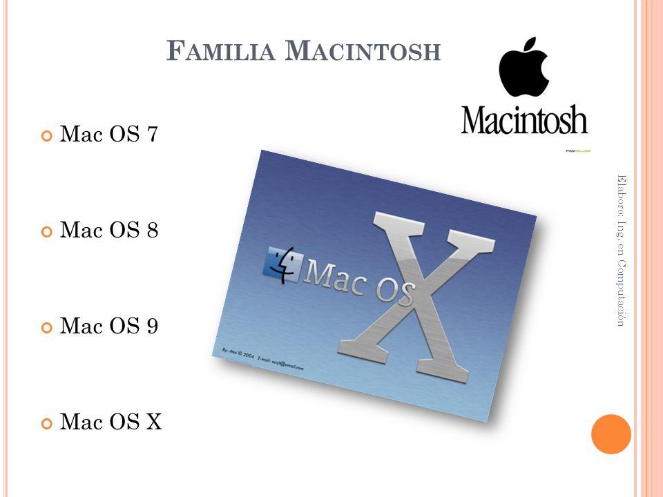 F AMILIA M ACINTOSH Mac OS 7 Mac OS 8 Mac OS 9 Mac OS X Elaboro: Ing. en Computación