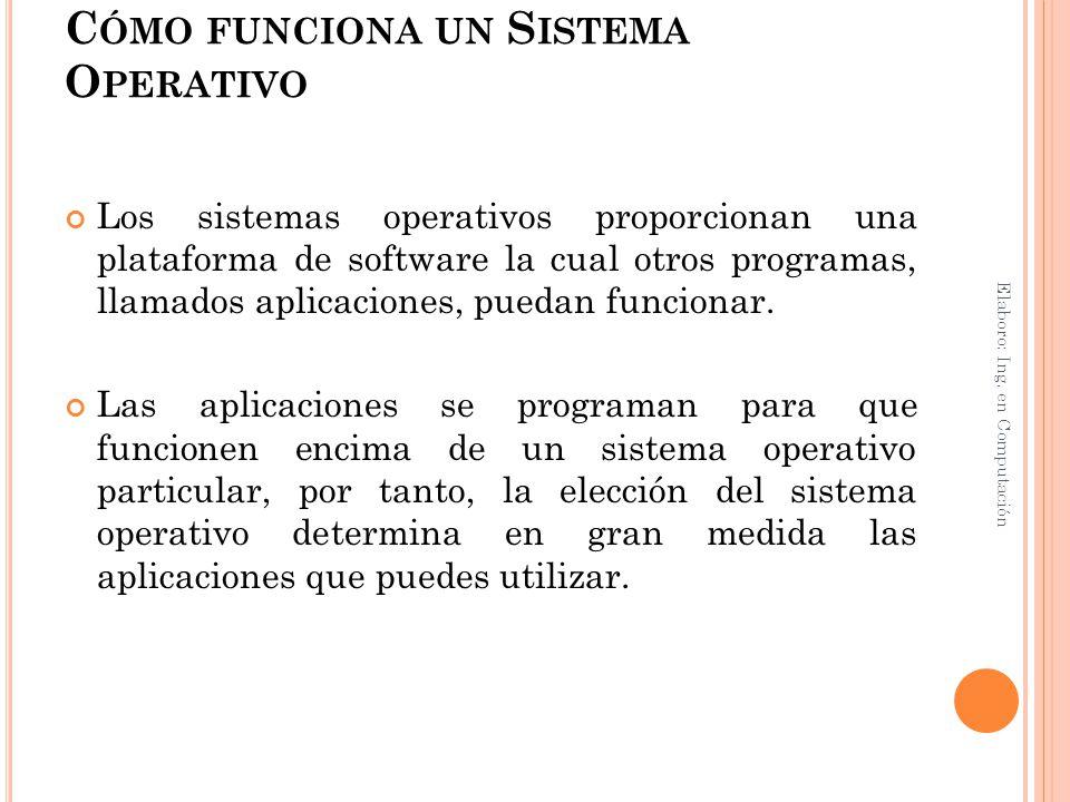 C ÓMO FUNCIONA UN S ISTEMA O PERATIVO Los sistemas operativos proporcionan una plataforma de software la cual otros programas, llamados aplicaciones,