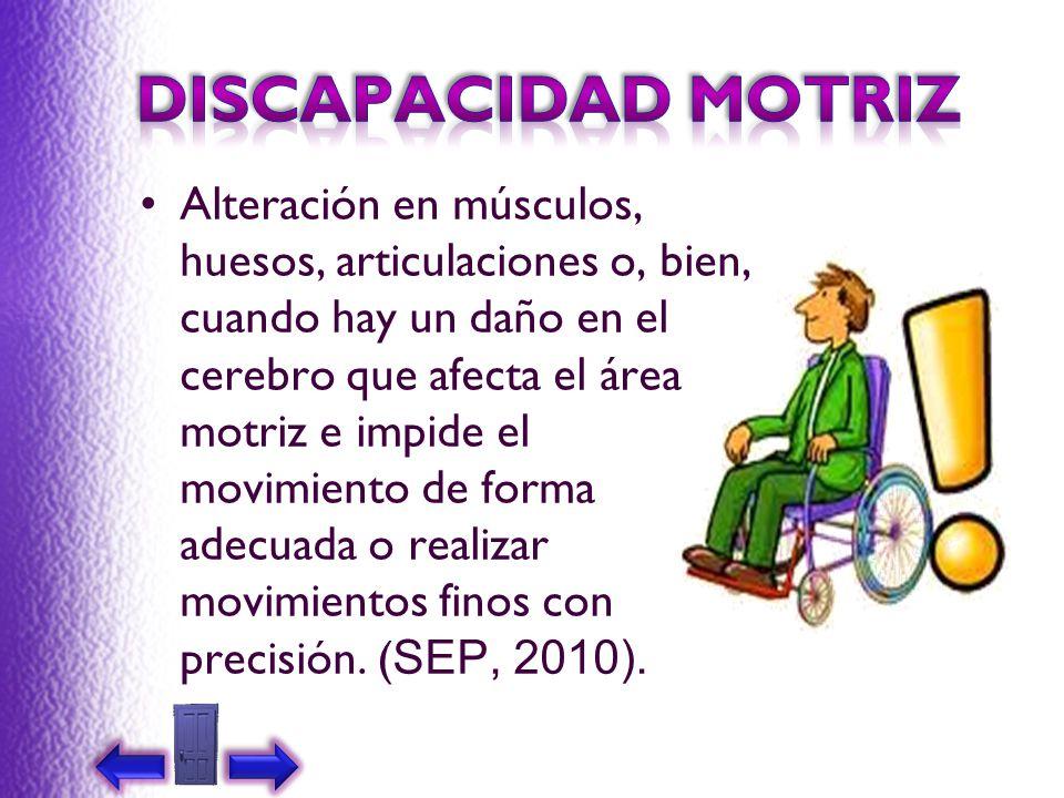 Alteración en músculos, huesos, articulaciones o, bien, cuando hay un daño en el cerebro que afecta el área motriz e impide el movimiento de forma ade