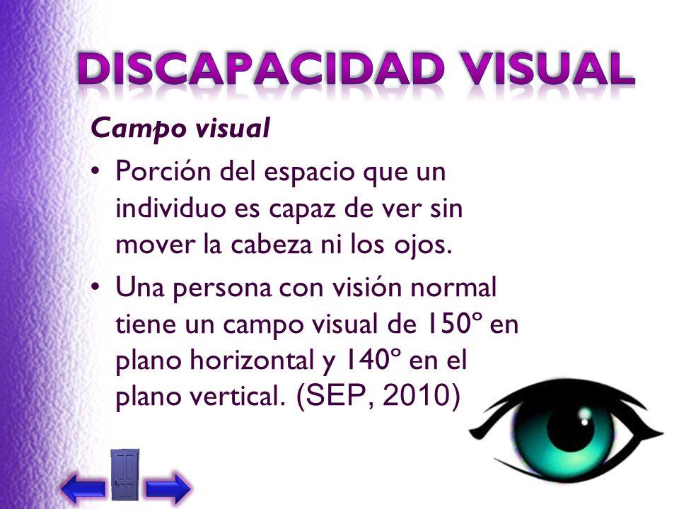 Campo visual Porción del espacio que un individuo es capaz de ver sin mover la cabeza ni los ojos. Una persona con visión normal tiene un campo visual