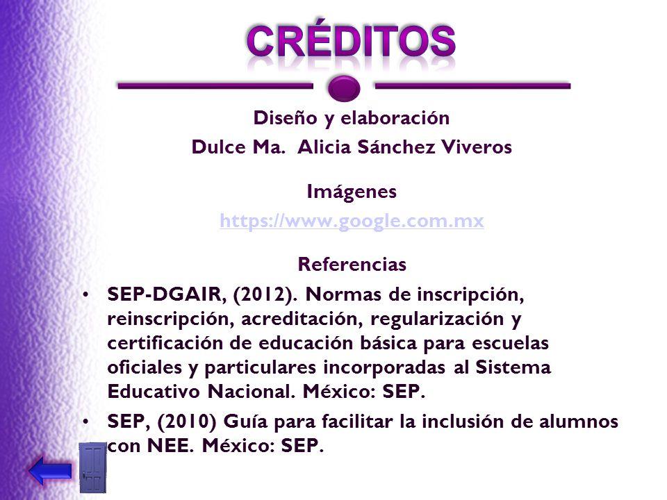 Diseño y elaboración Dulce Ma. Alicia Sánchez Viveros Imágenes https://www.google.com.mx Referencias SEP-DGAIR, (2012). Normas de inscripción, reinscr