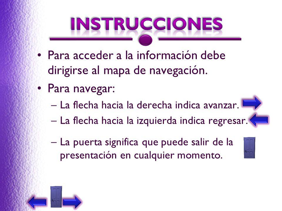 Para acceder a la información debe dirigirse al mapa de navegación. Para navegar: –La flecha hacia la derecha indica avanzar. –La flecha hacia la izqu