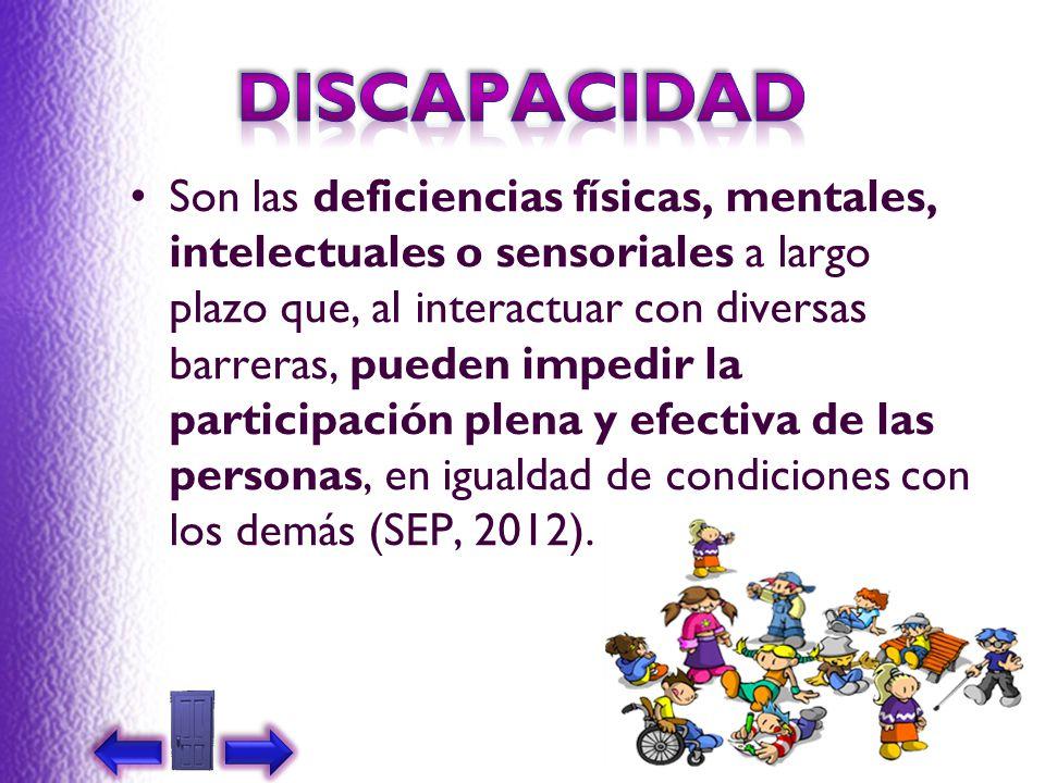 Son las deficiencias físicas, mentales, intelectuales o sensoriales a largo plazo que, al interactuar con diversas barreras, pueden impedir la partici