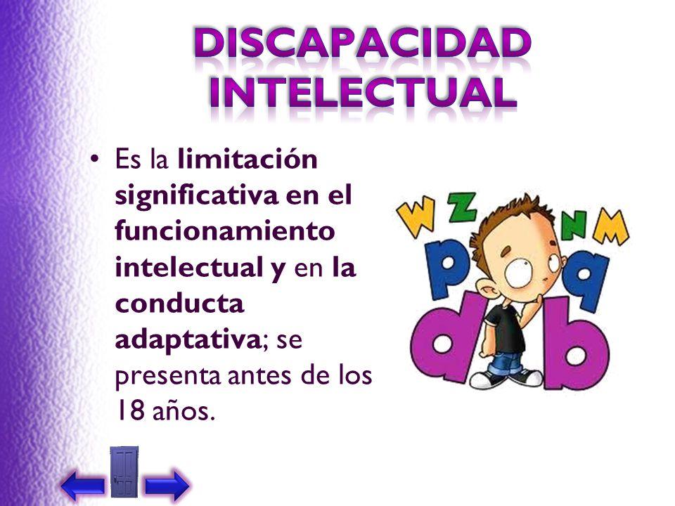 Es la limitación significativa en el funcionamiento intelectual y en la conducta adaptativa; se presenta antes de los 18 años.