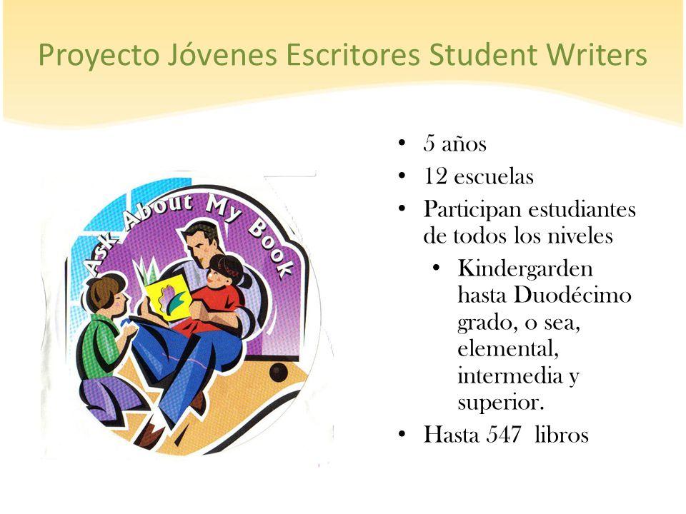 Proyecto Jóvenes Escritores Student Writers 5 años 12 escuelas Participan estudiantes de todos los niveles Kindergarden hasta Duodécimo grado, o sea,