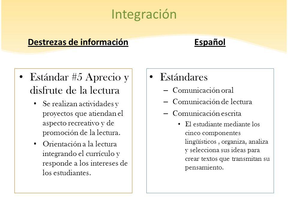 Integración Destrezas de información Estándar #5 Aprecio y disfrute de la lectura Se realizan actividades y proyectos que atiendan el aspecto recreati