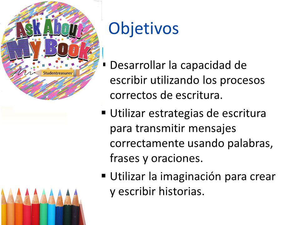 Objetivos Desarrollar la capacidad de escribir utilizando los procesos correctos de escritura. Utilizar estrategias de escritura para transmitir mensa