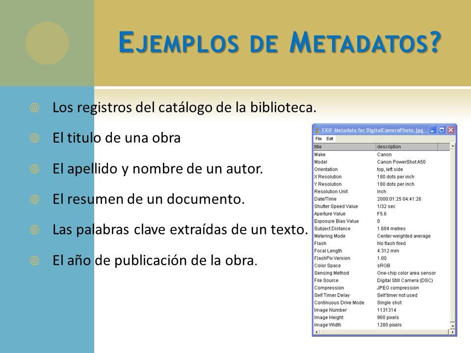 E JEMPLOS DE M ETADATOS ? Los registros del catálogo de la biblioteca. El titulo de una obra El apellido y nombre de un autor. El resumen de un docume