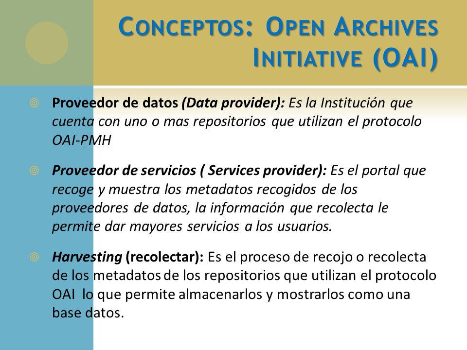 C ONCEPTOS : O PEN A RCHIVES I NITIATIVE (OAI) Proveedor de datos (Data provider): Es la Institución que cuenta con uno o mas repositorios que utiliza
