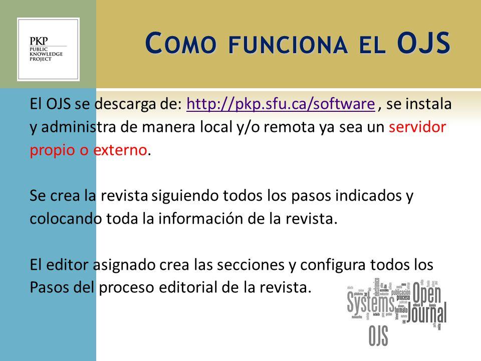 El OJS se descarga de: http://pkp.sfu.ca/software, se instalahttp://pkp.sfu.ca/software y administra de manera local y/o remota ya sea un servidor pro
