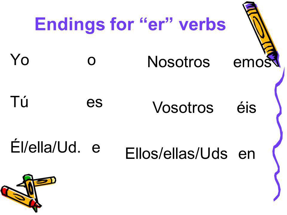 Endings for er verbs Yo o Tú es Él/ella/Ud. e Nosotros emos Vosotros éis Ellos/ellas/Uds en